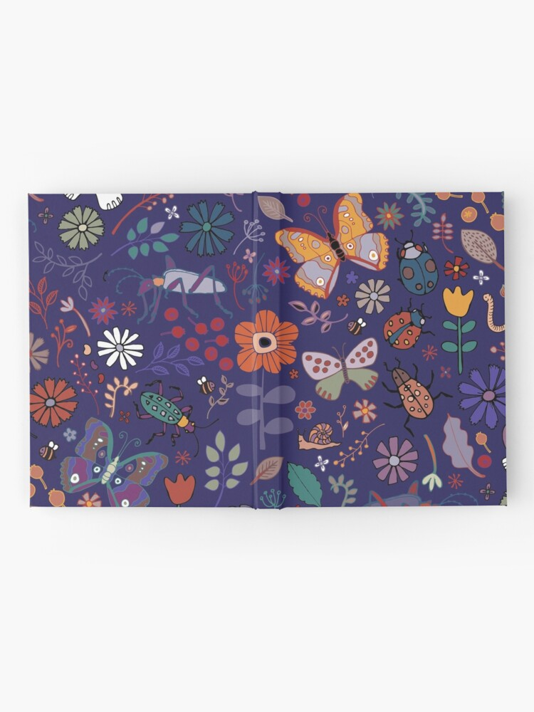 Alternate view of Butterflies, beetles and blooms - French navy - pretty floral pattern by Cecca Designs Hardcover Journal