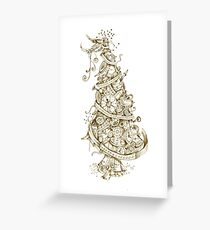 Steampunk Christmas Tree Greeting Card