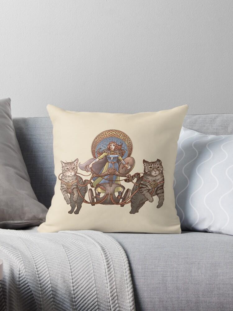 Freya Driving Her Cat Chariot Throw Pillow By Dani Kaulakis