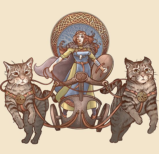 Freya Driving Her Cat Chariot by Dani Kaulakis