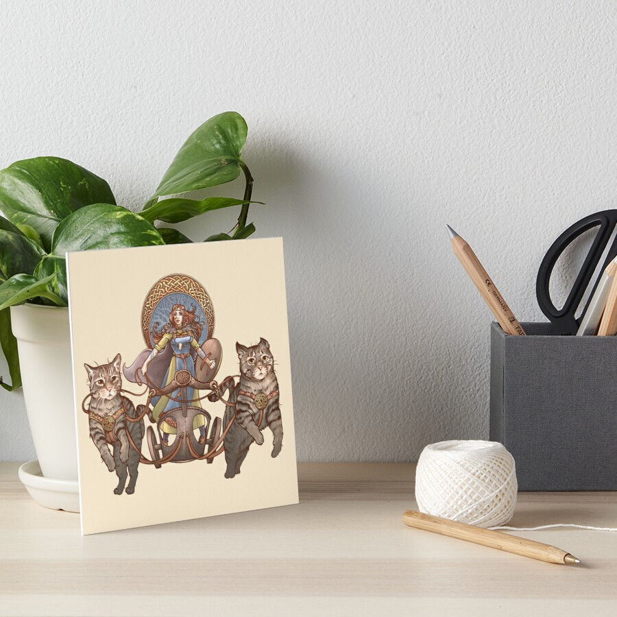 Freya Driving Her Cat Chariot Art Board Print