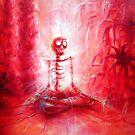 Red Skeleton Meditation  by HCalderonArt