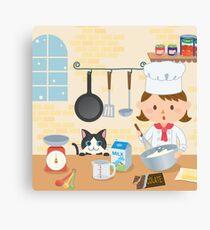 Cooking friends cartoon kitchen Canvas Print