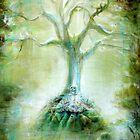 Green Skeleton Meditation by HCalderonArt