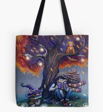 Young witch reading magic book Tote Bag