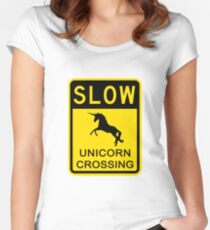 Slow Unicorn Crossing Women's Fitted Scoop T-Shirt