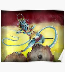 Samurai Steampunk Dragon Poster