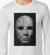 Textured mask with cracked rough wood  painted surface, neutral expression on dark background. T-Shirt