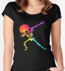 Dabbing skeleton dab skull Rainbow funny Halloween hip hop pose Women's Fitted Scoop T-Shirt