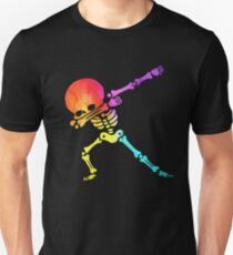 Dabbing skeleton dab skull Rainbow funny Halloween hip hop pose Slim Fit T-Shirt