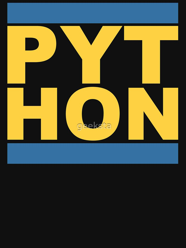 PYT HON - Cool Blue & Yellow Python Programmer Design by geeksta