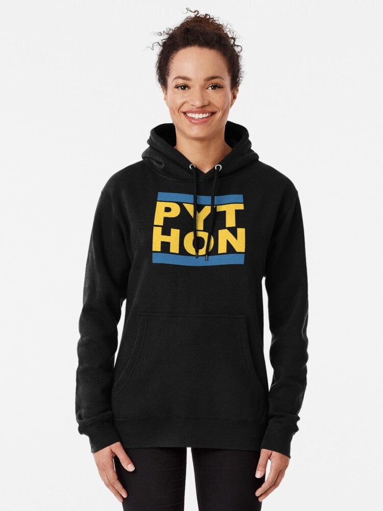 Alternate view of PYT HON - Cool Blue & Yellow Python Programmer Design Pullover Hoodie