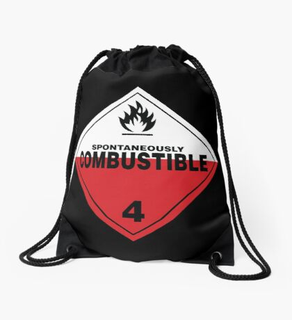 Spontaneously Combustible Warning Sign Drawstring Bag