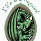 Dragon Egg - It's a Dragon Gender Reveal Joke Green by Art-by-Aelia