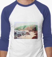 Tropical beach at sunset - nature background watercolor Men's Baseball ¾ T-Shirt
