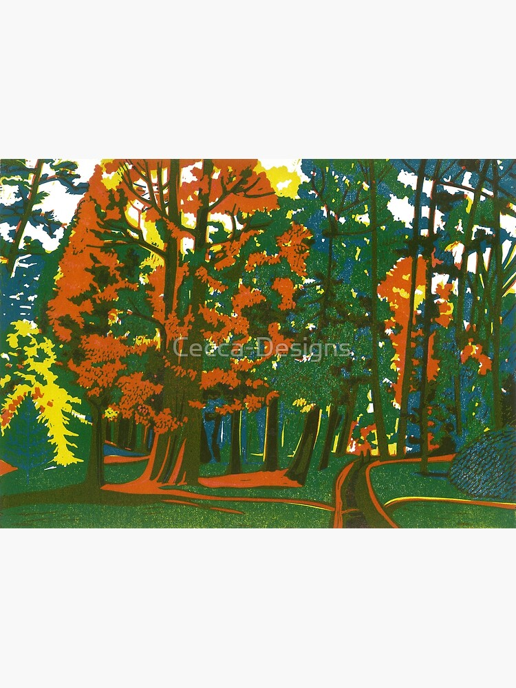 Bournemouth Gardens - Original linocut by Francesca Whetnall by Cecca-Designs