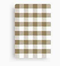 Dull gold brown gingham fabric pattern Canvas Print