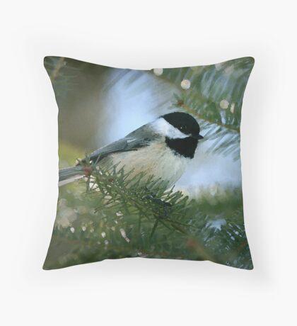 Chickadee Watercolor Throw Pillow
