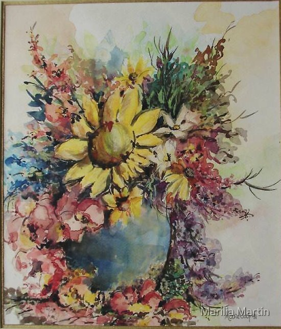 Floral whit sunflower by Marilia Martin