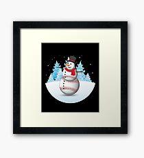 Funny Christmas Sports Baseball Snowman Framed Print