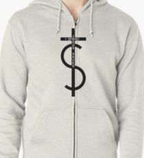 Jesus saves. I spend. (Black) Zipped Hoodie