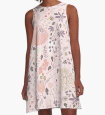 Blumenfeld in Rosa und Lila A-Linien Kleid