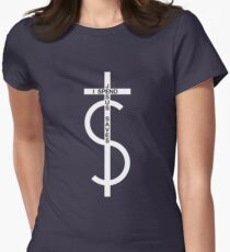 Jesus saves. I spend. (White) Women's Fitted T-Shirt