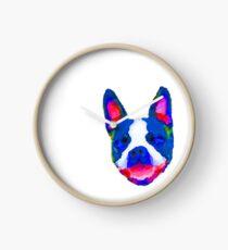 Smiling Boston Terrier face in bright watercolors Clock