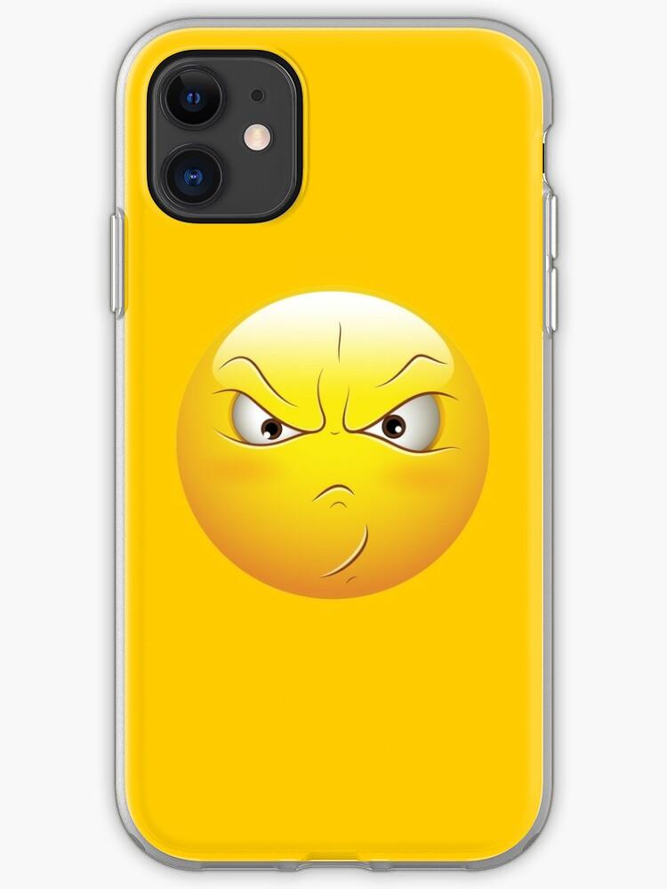 Coque Et Skin Adhésive Iphone émoticône De Visage Smiley En Colère Par Allovervintage