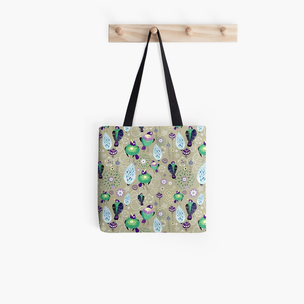 floral pattern with birds Tote Bag