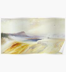 Great Blue Spring of the Lower Geyser Basin, Firehole River, Yellowstone by Thomas Moran  Poster