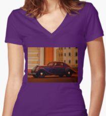Skoda Popular Sport Monte Carlo 1935 Painting Women's Fitted V-Neck T-Shirt
