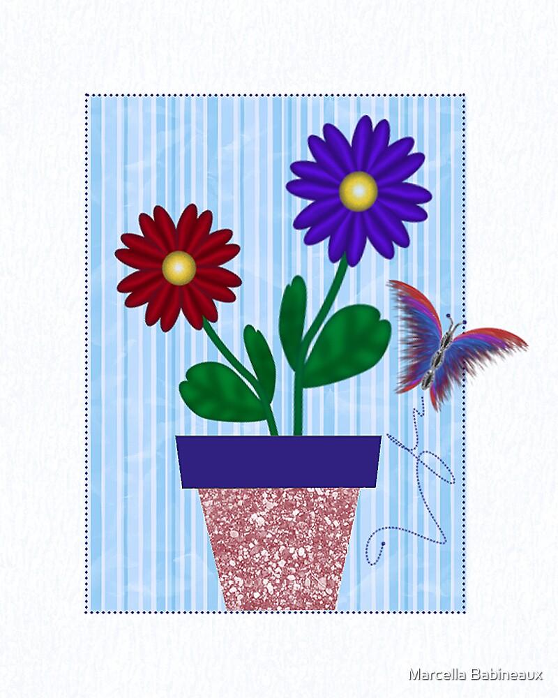 Flowerpot Daisies by Marcella Babineaux