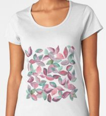 Watercolor Leaves Hand-Painted Red Green Botanical Pattern Premium Scoop T-Shirt