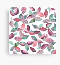 Watercolor Leaves Hand-Painted Red Green Botanical Pattern Canvas Print