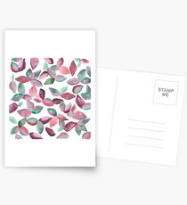 Watercolor Leaves Hand-Painted Red Green Botanical Pattern Postcards