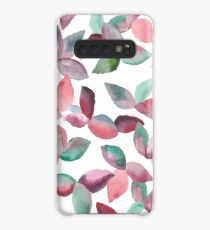 Watercolor Leaves Hand-Painted Red Green Botanical Pattern Case/Skin for Samsung Galaxy