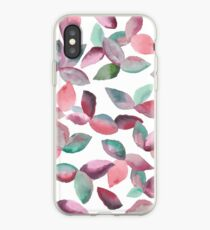 Watercolor Leaves Hand-Painted Red Green Botanical Pattern iPhone Case