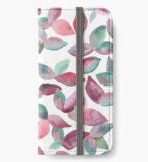 Watercolor Leaves Hand-Painted Red Green Botanical Pattern iPhone Wallet/Case/Skin