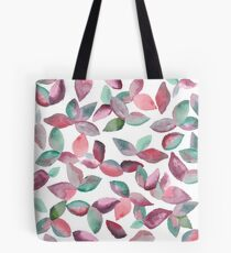 Watercolor Leaves Hand-Painted Red Green Botanical Pattern Tote Bag