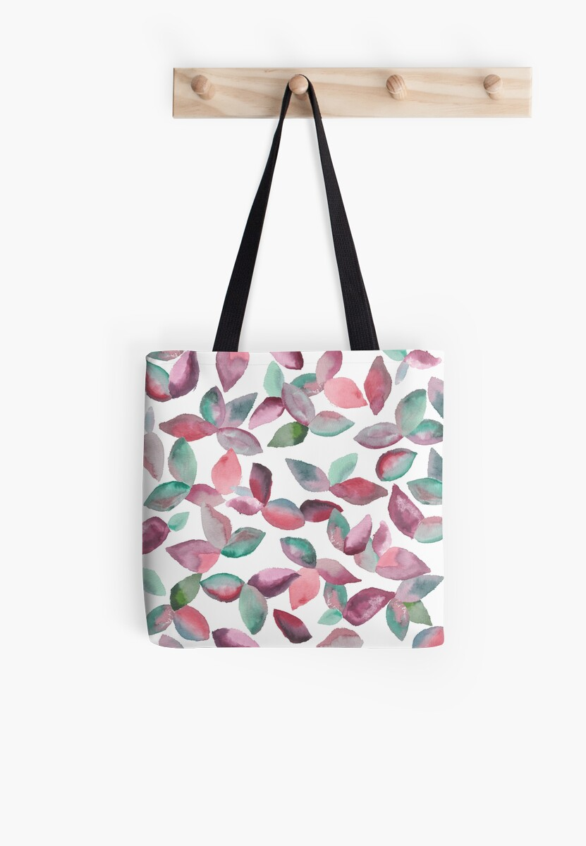 Watercolor Leaves Hand-Painted Red Green Botanical Pattern by Beverly Claire Kaiya