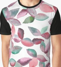 Watercolor Leaves Hand-Painted Red Green Botanical Pattern Graphic T-Shirt