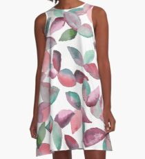 Watercolor Leaves Hand-Painted Red Green Botanical Pattern A-Line Dress