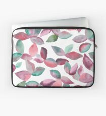 Watercolor Leaves Hand-Painted Red Green Botanical Pattern Laptop Sleeve