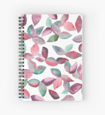 Watercolor Leaves Hand-Painted Red Green Botanical Pattern Spiral Notebook