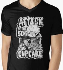 ATTACK OF THE 50FT CUPCAKE - vintage cartoon 80's  Men's V-Neck T-Shirt