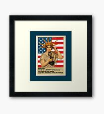 Funny: Liberty, Politics, Protest - Vintage, Retro. Framed Print