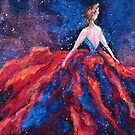 Galaxy Girl in Red and Blue Fantasy painting by Laura Wilson