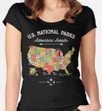 National Park Map Vintage T Shirt - All 59 National Parks Women's Fitted Scoop T-Shirt