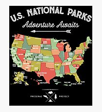 National Park Map Vintage T Shirt - All 59 National Parks Photographic Print